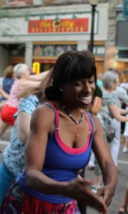Spreading joy during a flash mob at Festival 2012.